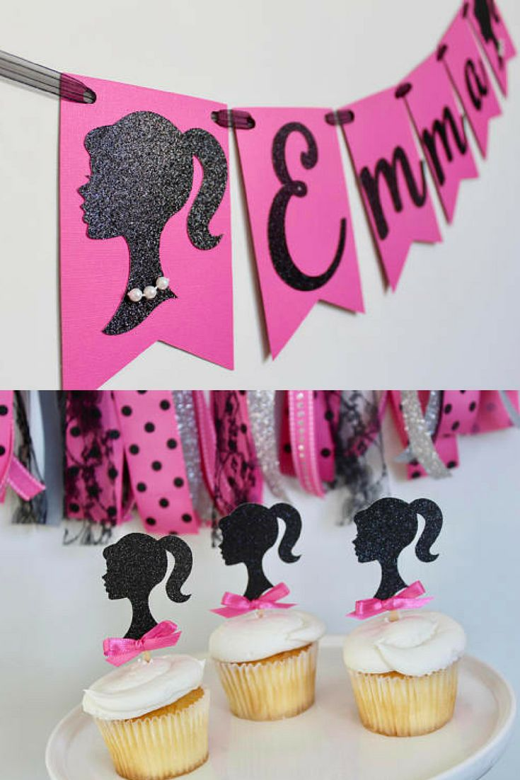 Barbie Birthday Banner, Barbie Birthday Party Decorations, Pink and Black Barbie Party, Barbie Silhouette, Barbie Decorations #ad