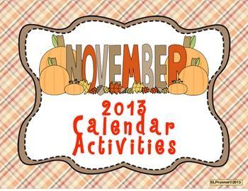 November 2013 Calendar Activities