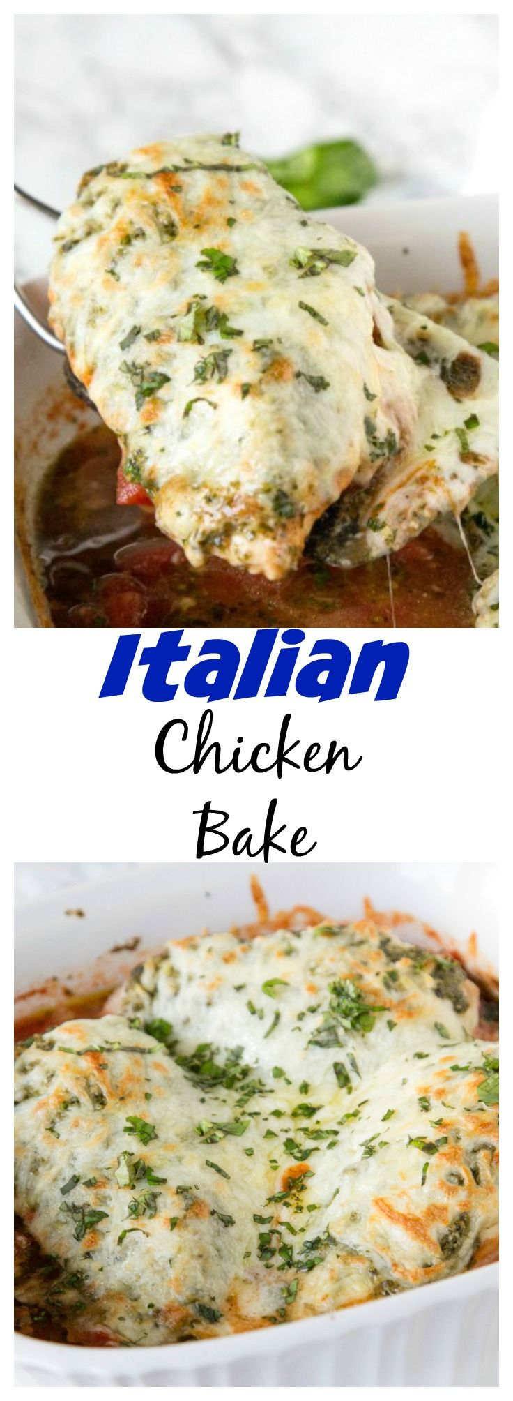Italian Chicken Bake – just 5 simple ingredients for a delicious, cheesy, and perfect dinner dinner for any night of the week.
