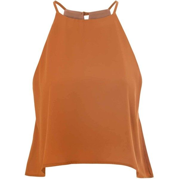 Brown Square Front Swing Top ($22) ❤ liked on Polyvore featuring tops, shirts, tank tops, tanks, brown, crop tank top, brown camisole, crop shirts, camisoles & tank tops and orange tank top