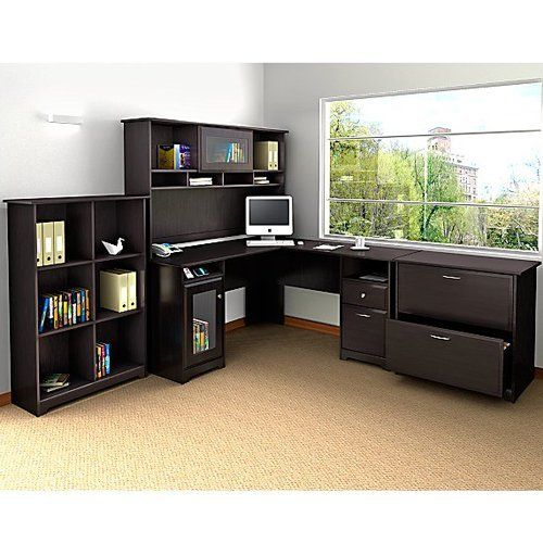 Bush Cabot L-Shaped Desk with Optional Hutch and Accessories | from hayneedle.com