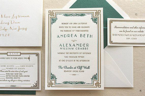 The Daisy Suite - Letterpress Wedding Invitation Suite - Art Deco, Gatsby, Formal, Roaring Twenties, Peach, Gold, Turquoise, White, Blue