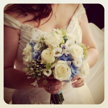Blue hydrangea wedding bouquet Blue hydrangeas, white agapanthus, green bells of Ireland, white roses