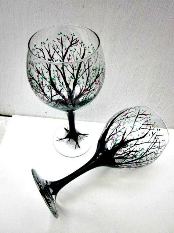 Wine Glasses Hand Painted Trees Pair Of Tree Wine Glasses