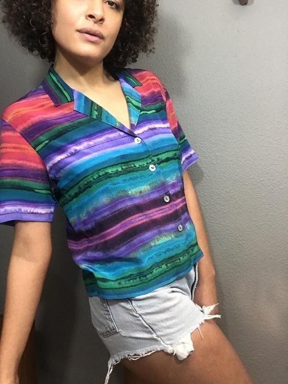 Vintage 1980s Colorful Blouse Medium
