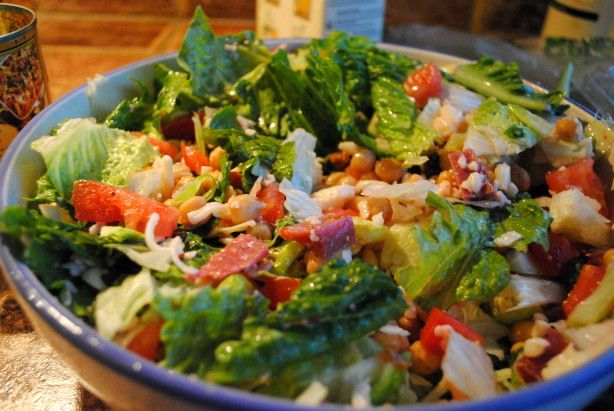 This is supposed to be the original chopped salad recipe, created by the owner of the La Scala restaurant in Los Angeles in the 1950s. I think it sounds pretty tasty, 50 years later!