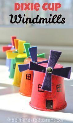 dixie cup windmills windmill bladeswindmill diypaper windmillkids craft projectsart