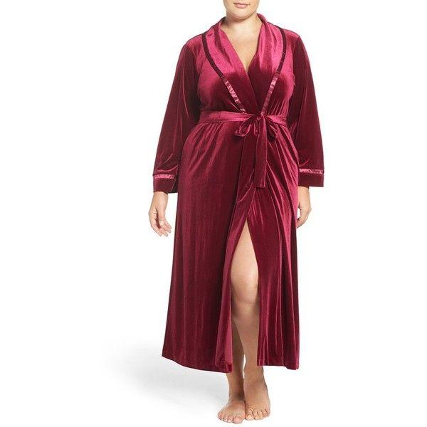 Plus Size Women's Oscar De La Renta Sleepwear Velvet Robe ($116) ❤ liked on Polyvore featuring plus size women's fashion, plus size clothing, plus size intimates, plus size robes, deep mulberry, plus size, dressing gown, oscar de la renta bathrobe, long dressing gowns and oscar de la renta