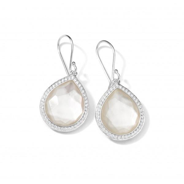 Ippolita Silver Lollipop Teardrop Earrings In Mother Of Pearl With Diamonds