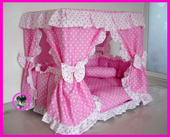 Gorgeous Luxury Princess Pet Dog Cat Puppy Bed House Pink white Dot Sz Small 19.6''x11.8''x19.6''