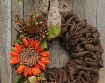 Ivory Sunflower Burlap WreathFall Burlap by WhimsyChicDesigns