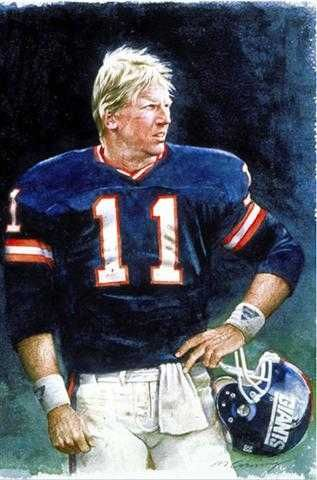 Phil Simms of the NY Giants by artist Merv Corning
