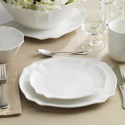 my new dishes I wish I had more time at home to enjoy - white dish set, isaac mizrahi