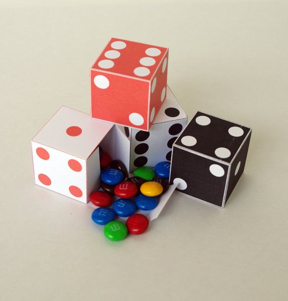 4 Mini Dice Favor Boxes  Red and White & Black by paper4download