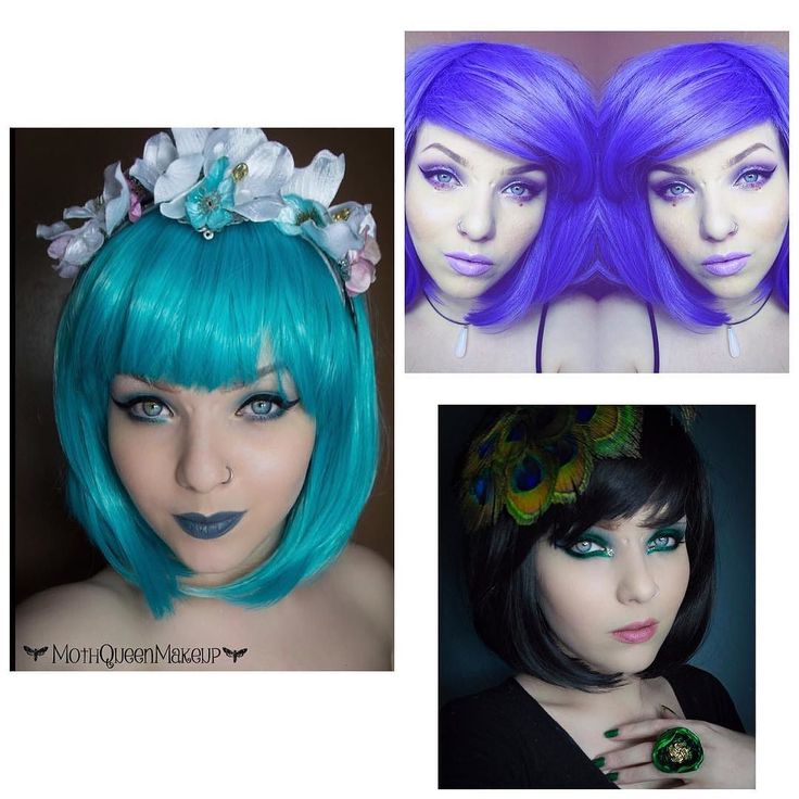 Gorgeous @mothqueenmakeup bob wig collection  #lushwigsviolet #lushwigsduckling #lushwigsbetty #lushwigs lushwigs.com #bobwig #shortwig #gorgeous #model #alternativehair