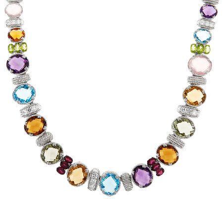 Judith Ripka Sterling 18 or 20 Multi-Gemstone Necklace J55681