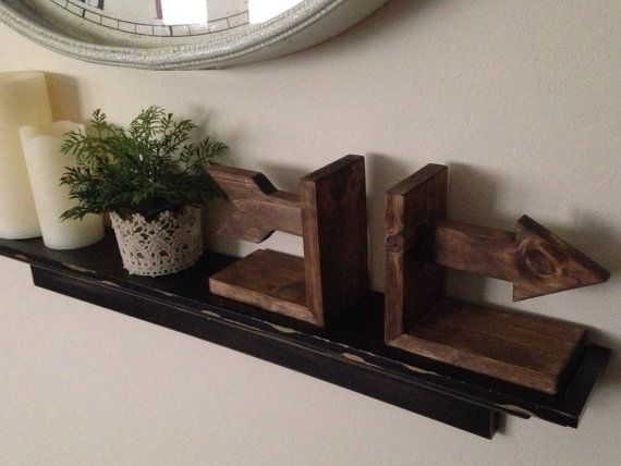 These super cute rustic bookends will complete the look of any shelf or book display. This listing is for a set (2) of stained rustic arrow