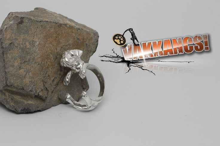 Ezüst bordói dog gyűrű. Sterling silver bordeauxi-dog ring.
