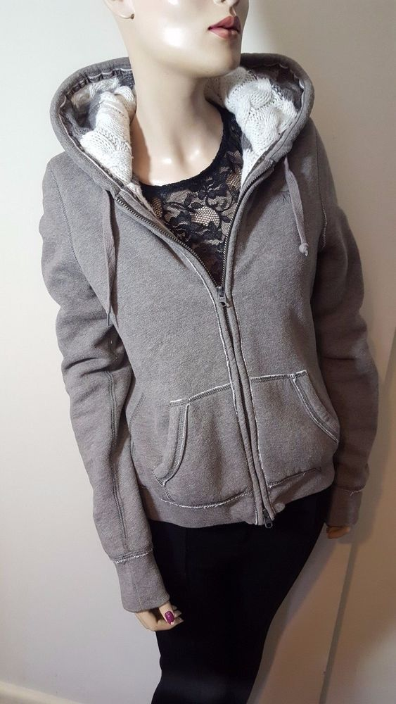 Abercrombie & Fitch Grey Knit Hooded Jumper Hoodie Sweater Jacket Size L 10 12 #AbercrombieFitch #Hoodie