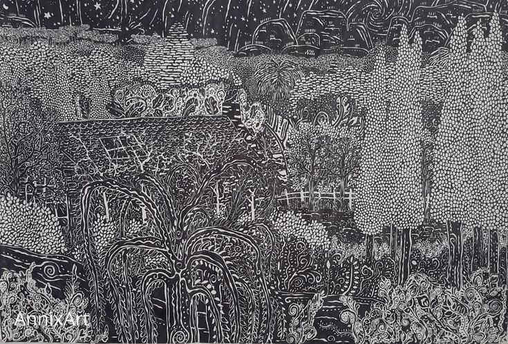 I Use Permanent Markers To Draw Detailed, Night-Time Forest Scenes With Animals