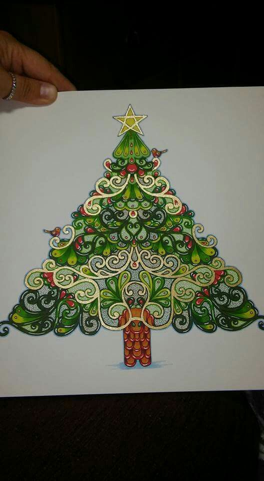 Johannas Christmas Coloring Book Tree With Two Robin Birds And A Star On Top