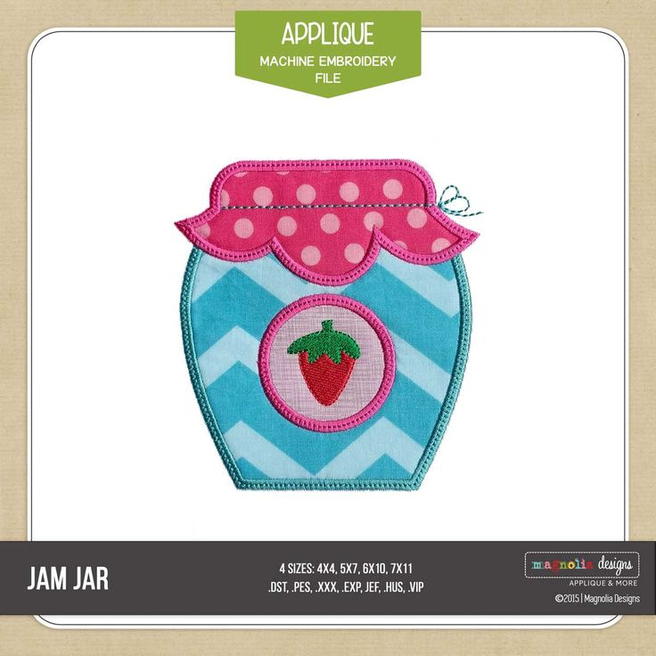 Sweet Strawberry Jam Jar Applique by Magnolia Designs