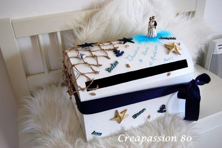 urne de mariage thème de la mer bleur marine, turquoise et blanc : Boîtes, coffrets par creapassion-80