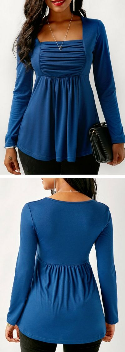 Long Sleeve Ruched Square Collar Blue Blouse.