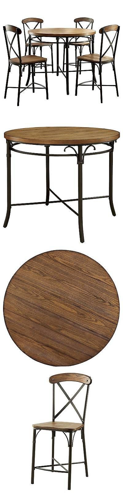 Sets 98478: 5-Piece Industrial Round Counter Height Table Set - Bronze BUY IT NOW ONLY: $799.99