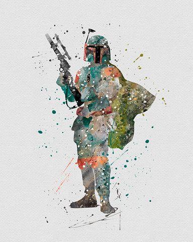 Boba Fett Star Wars Watercolor Art - VividEditions