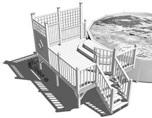 Aménagement Méduse Coccinelle - Aménagement de plate-forme de piscine et marches en bois traité