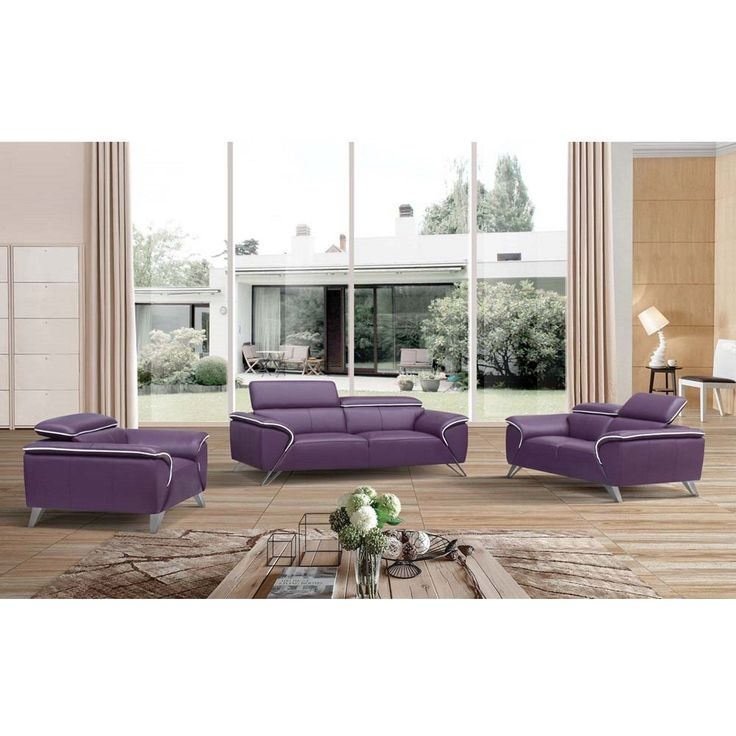 Luca Home Purple Leather 3 Piece Living Room Set (Purple Adjustable  Headrest 3pc Rest Part 98