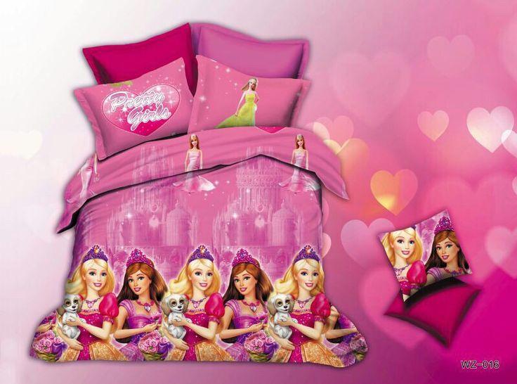 Barbie and friends Bed Sheet Kids cartoon glace cotton bedsheet