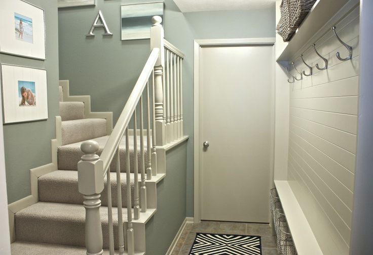 Stairwell and Mudroom Revamp {Before and After}�...lovely. Trim paint color: Mindful Gray, Sherwin Williams. The walls are custom, to see formula go the link listed. Great transformation.