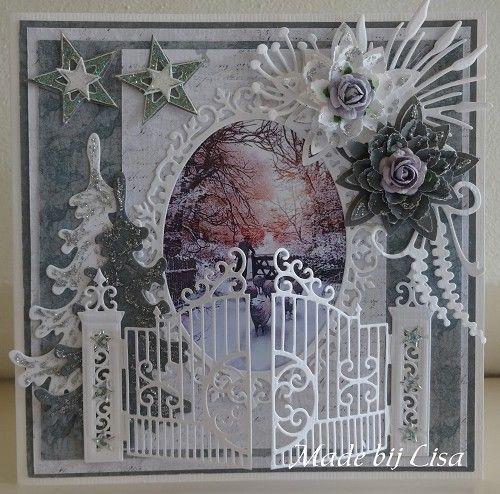 Voorbeeldkaart - Kerstkaart met hekje, - Categorie: Scrapkaarten - Hobbyjournaal uw hobby website