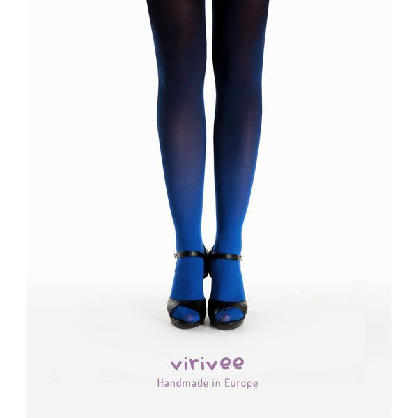 SALE! Ombre tights blue-black, blue pantyhose, cool gradient tights ❤ liked on Polyvore featuring intimates, hosiery, tights, ombre tights, panty hose stockings, gradient tights, ombre stockings and sheer blue tights