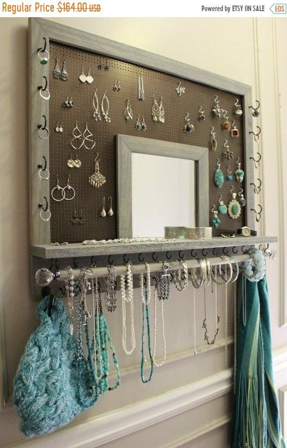 You Pick The Stain, Mesh and Hook Color, Leaf Trim and Mirror Series Wall Mounted Jewelry Organizer withBracelet Bar and Crystal Knobs