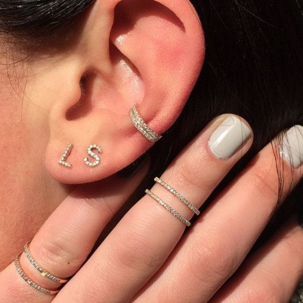 Diamond Initial Stud Earrings – Stephanie Gottlieb Fine Jewelry