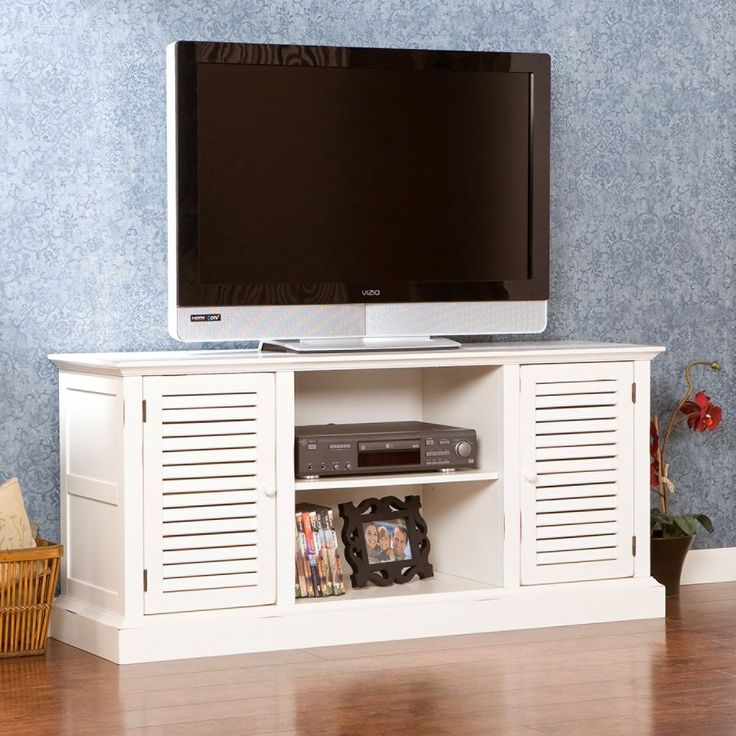 50In Antique White Cabinet TV Stand Entertainment Unit Media Adjustable Shelves  #HarperBlvd #Transitional #Cabinet #TvStand #Shelves #Entertainment