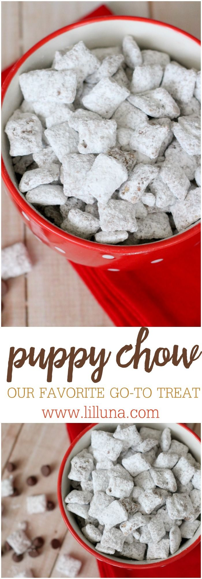 Puppy Chow - the delicious treat made from Chex covered in chocolate. peanut butter and powdered sugar!