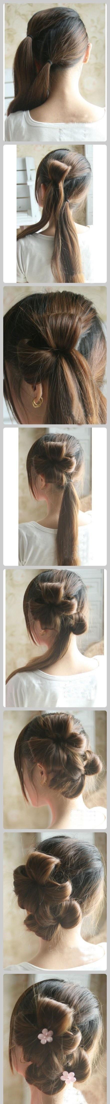 ... Bun Hairstyles, Hair Flower, Hair Styles, Ribbon Hair, Cute Hairstyles