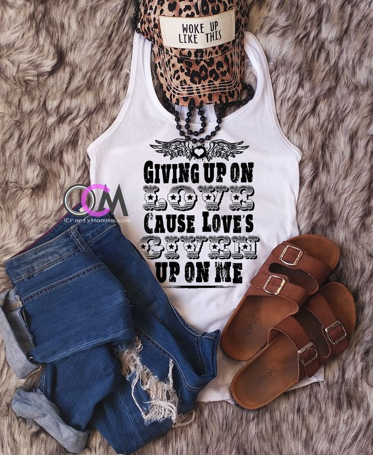 I'm Giving up on Love Cause Loves Given Up On Me, Country Concert Tank, Miranda Lambert Lyric Tank - Racerback 19.99