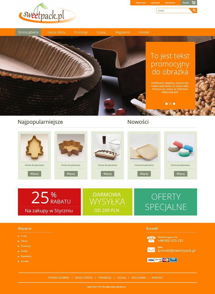 Strona główna sklepu internetowego Sweetpack. Projekt.