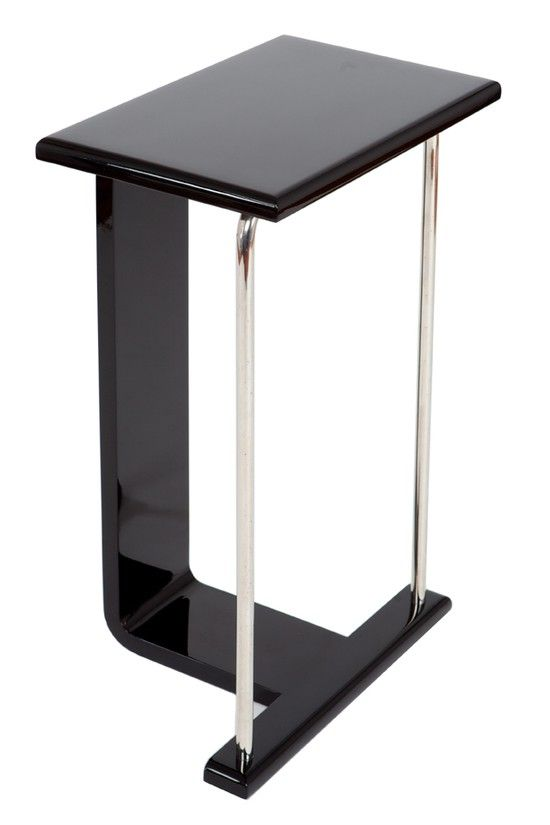 American Art Deco Occasional Table In Black Lacquer And Chrome