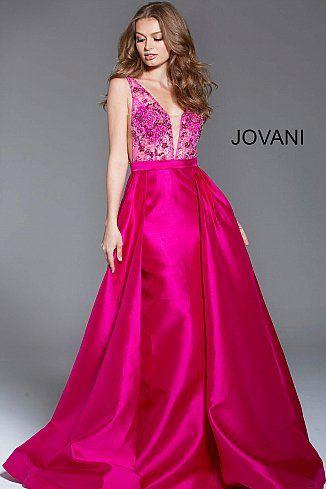 ec3f6e60a45 Fuchsia Embellished Sleeveless Bodice Evening Gown 60016  LowVNeckDress   PlungingDress  Prom  Jovani