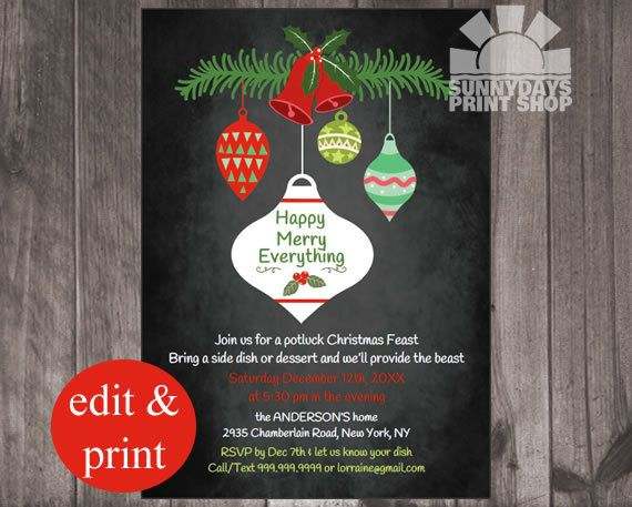 Christmas Potluck Party Invitation, Retro Christmas, Chalkboard InvitationINSTANT DOWNLOAD Edit with Adobe Reader