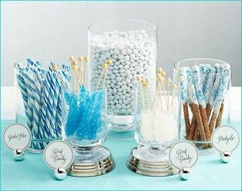 Wedding, Reception, White, Blue, Silver, Candy, Buffet