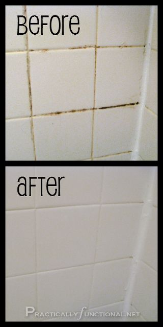 clean your tile grout with this simple homemade grout cleaner, bathroom ideas, cleaning tips, tiling, There were living things growing in that corner when we moved in Gross