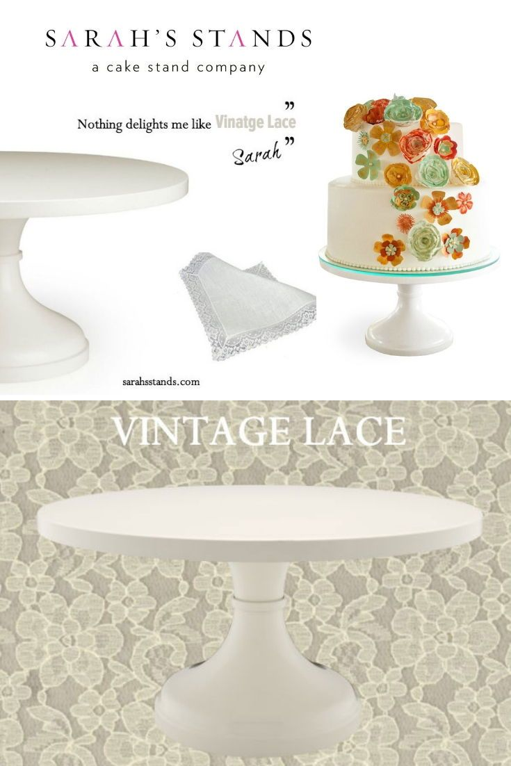 Ivory Vintage Lace Picture Perfect Wedding Cake Stand Available In Sizes 10 Inch Wedding Cake Toppers Large Wedding Cake Stand Unique Wedding Cakes Creative