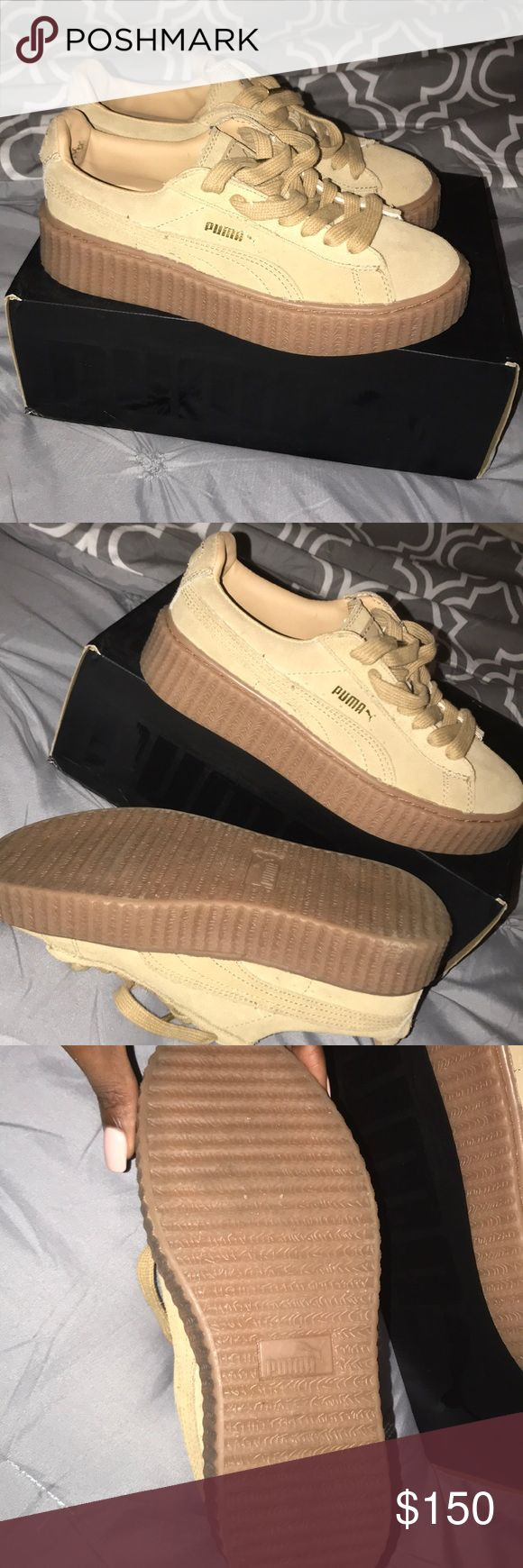 Fenty platform Puma Leather bottom tan suede shoe worn only once still basically new no scratches or bends in shoes very comfortable just own to many tan suede shoes they need a good home Puma Shoes Athletic Shoes